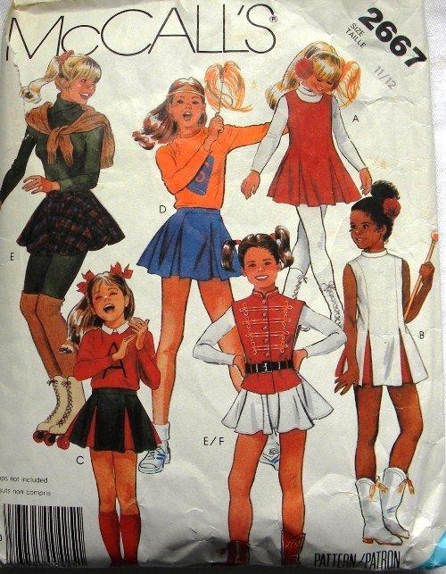 Girls Majorette, Skating Costume Sewing Pattern McCalls 2667 Size 11/12