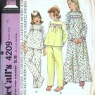 Girls Nightgown Pajamas 70s Vtg Sewing Pattern McCalls 4209 Size 14