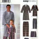 Men, Boy Pajamas, Robe Sewing Pattern Simplicity 5329 Sz S, M, L, XL