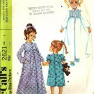 Girls 70s Robe, Nightgown Sewing Pattern Size 2 McCalls 2621