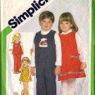 Boy, Girl Sundress Jumper Overalls Sewing Pattern Simplicity 5241 Sz 4
