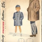 Boys 40s Coat and Cap Vintage Sewing Pattern Simplicity 2347 Size 4