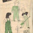Toddler 40s Overalls, Jacket Vtg Sewing Pattern Butterick 3095 Size 3