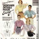 McCalls 5296 Sewing Pattern Misses Designer Blouses Size 16