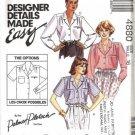 Misses Designer Blouse Sewing Pattern McCalls 4880 Size 16
