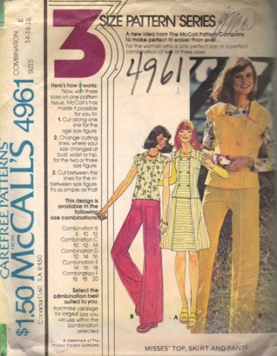 Misses 70s Sewing Pattern Top, Skirt, Pants McCalls 4961 Sz 14, 16, 18