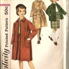 Girls 60s Coat, Skirt Vintage Sewing Pattern Simplicity 3657 Size 8