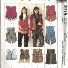 Misses Lined Vest Sewing Pattern McCalls 2915 Size 12, 14