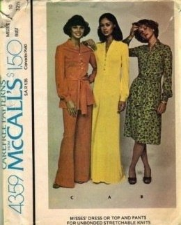 McCalls 4359 Misses 70s Knits Dress, Top, Pants Sewing Pattern Size 10