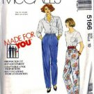 McCalls 5166 Misses Proportion Fit Pants Sewing Pattern Size 10