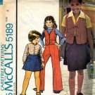 McCalls 5189 Girls Retro Wrap Skirt Vest Pants Sewing Pattern Size 8