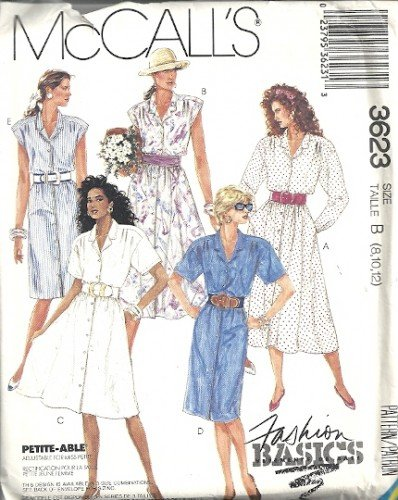Misses 80s Shirtwaist Dress Sewing Pattern McCalls 3623 Size 8, 10, 12