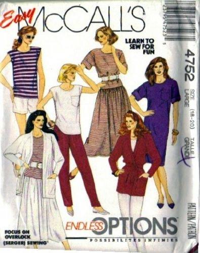 Misses Jacket, Dress, Skirt Sewing Pattern Size 18, 20 McCalls 4752