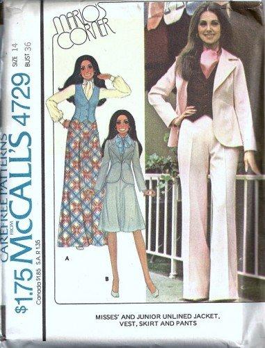 McCalls 4729 Misses Jacket Skirt Pants Vest Sewing Pattern Size 14