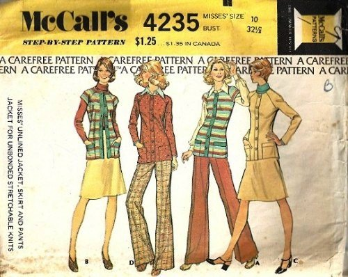 Misses 70s Jacket, Skirt, Pants Sewing Pattern McCalls 4235 Size 10