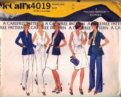 Misses 70s Jacket Top Skirt Pants Sewing Pattern McCalls 4019 Size 14