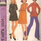 Misses 70s Dress, Tunic, Pants Sewing Pattern McCalls 3804 Size 14