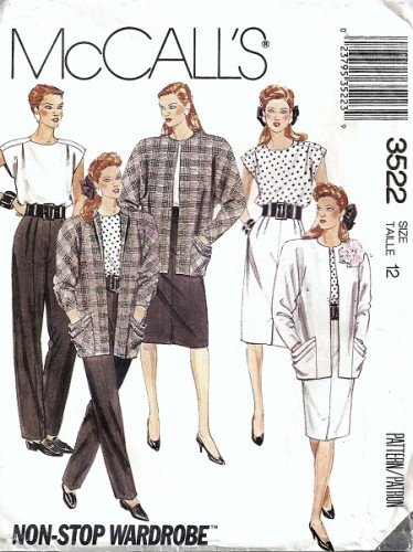 Misses Jacket, Top, Skirt, Pants Sewing Pattern McCalls 3522 Size 12