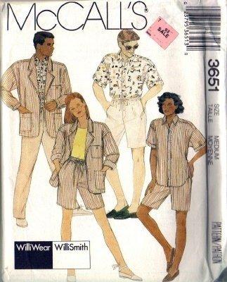 Men, Misses Jacket Shirt Shorts Sewing Pattern McCalls 3651 Med 36-38