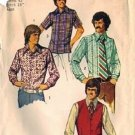 Mens 70s Shirt, Vest Sewing Pattern Simplicity 5047 Size 42