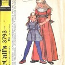Girls 70s Long/Short Dress Retro Sewing Pattern McCalls 3793 Size 8