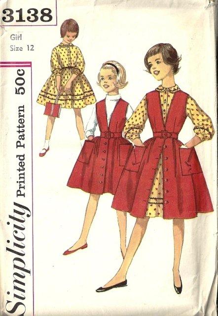 Girls Skirt, Dress, Jumper 50s Sewing Pattern Simplicity 3138 Size 12