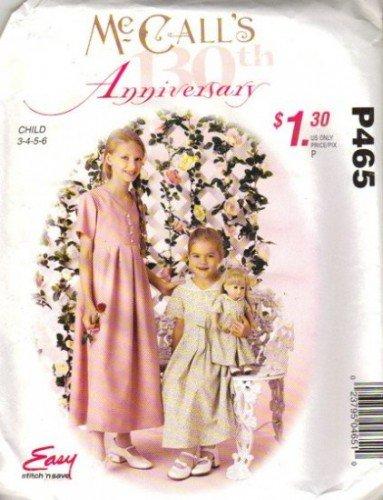 Girls Dress, Doll Dress Sewing Pattern McCalls P465 Size 3, 4, 5, 6