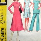 McCalls 2748 Misses 70s Dress, Pants, Top Sewing Pattern Size 14 1/2