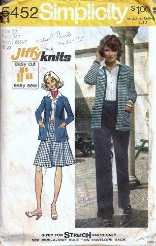 Misses Jacket Skirt Pants Vintage Sewing Pattern Simplicity 5452 Sz 12
