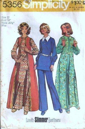 Misses Top, Long Boho Vest, Pants 70s Sewing Pattern Simplicity 5356 Sz 12
