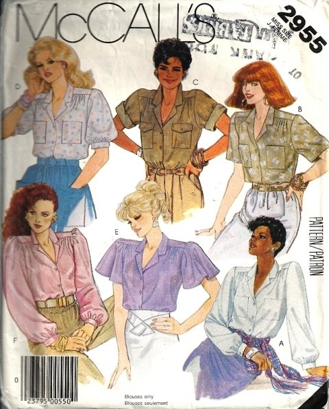Misses 80s Blouse 6 Views Sewing Pattern McCalls 2955 Size 10