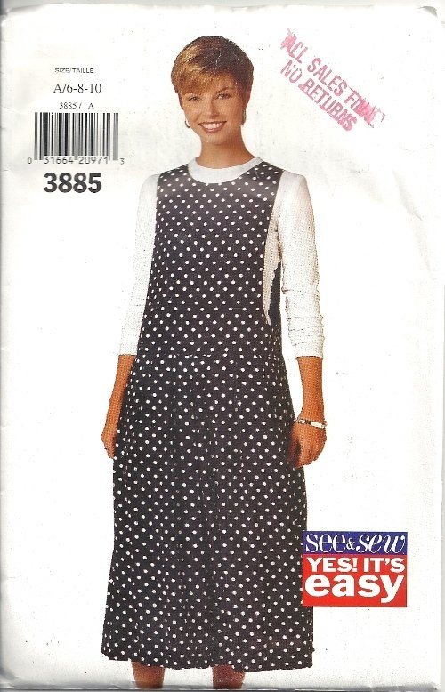 Misses Easy Jumper 90s Sewing Pattern Butterick 3885 Size 6, 8, 10