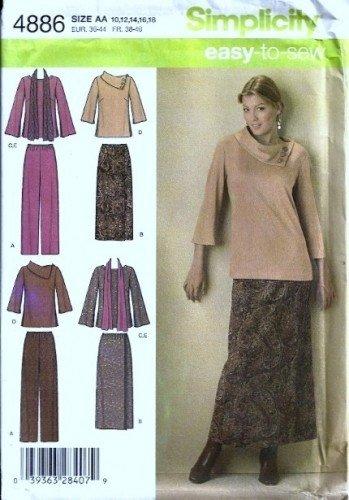 Misses Top, Wrap Skirt, Pant Sewing Pattern Simplicity 4886 Sz 10 - 18