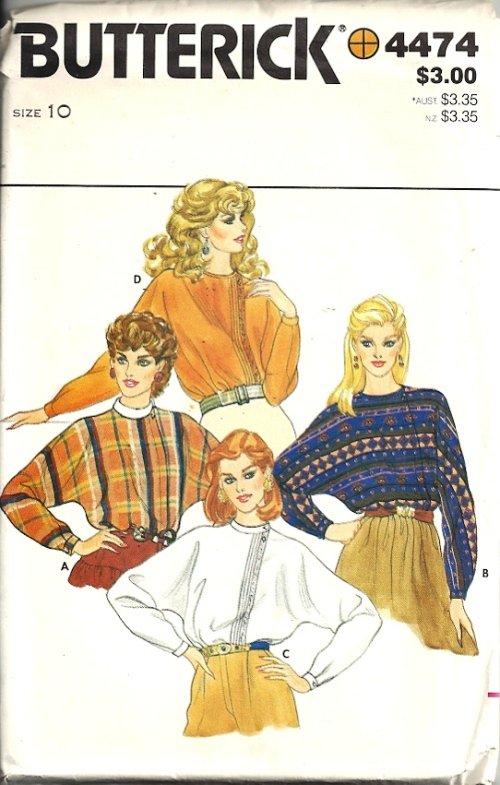 Misses Dolman Blouse 80s Sewing Pattern Butterick 4474 Size 10