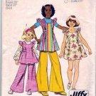 Girls 70s Sundress, Tunic, Pants Sewing Pattern Simplicity 5483 Size 6