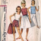 Girls 60s Skirt Top Pants Sewing Pattern Simplicity 4967 Size 12