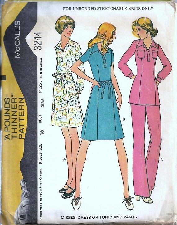 Misses Dress Tunic Pants Vintage Sewing Pattern McCalls 3244 Size 16