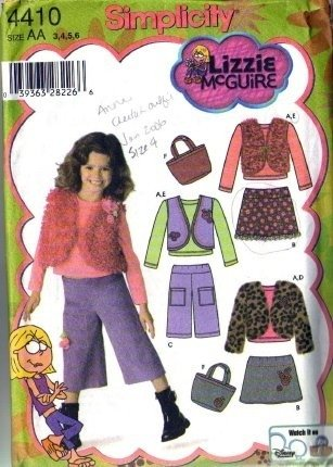 Girls Skirt, Pants, Vest, Bag Sewing Pattern Simplicity 4410 Size 3, 4