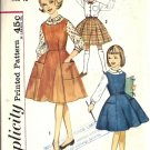 Girls 60s Jumper, Skirt, Blouse Sewing Pattern Simplicity 4084 Size 10