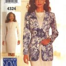Misses Jacket, Dress Sewing Pattern Butterick 4324 Size 6, 8, 10