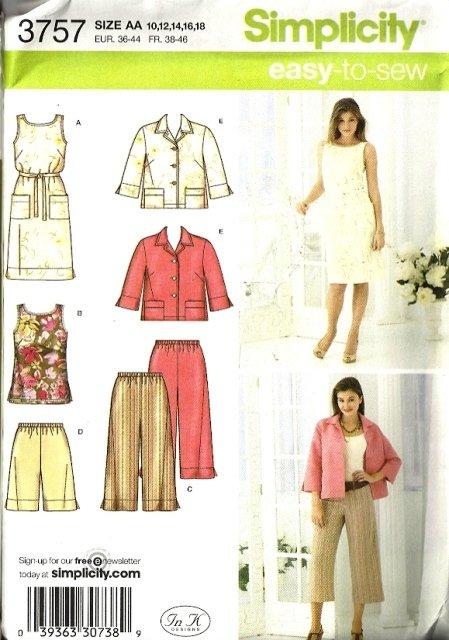 Misses Dress Jacket Pants Sewing Pattern Simplicity 3757 Size 10, 12, 14, 16, 18