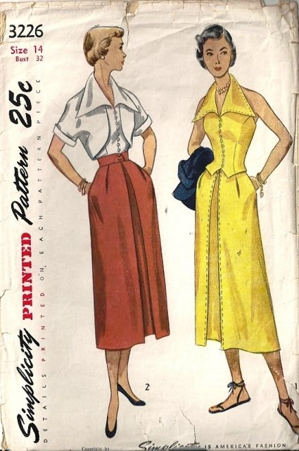 Misses 50s Skirt Halter Bolero Sewing Pattern Simplicity 3226 Size 14