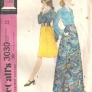 Misses 70s Skirt, Blouse Vintage Sewing Pattern Size 12 McCalls 3030