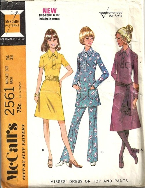 Misses 70s Dress Top Pants Sewing Pattern Size 14 McCalls 2561