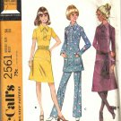 Misses 70s Dress Top Pants Sewing Pattern Size 14 McCalls 2561