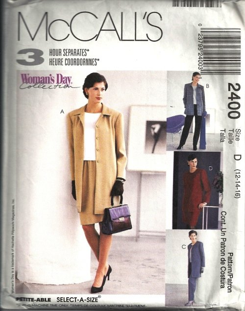 Misses Jacket Top Pants Skirt Sewing Pattern McCalls 2400 Size 12