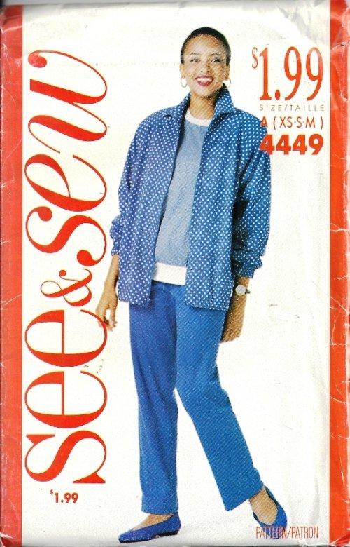 Misses Jacket Top Pants Sewing Pattern Butterick 4449 XS, S, M