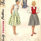 Girls 50s Sewing Pattern Skirt, Blouse, Vest Simplicity 3294 Size 8