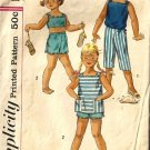 Girls 50s Sewing Pattern Tops, Capri, Shorts Simplicity 2095 Size 1