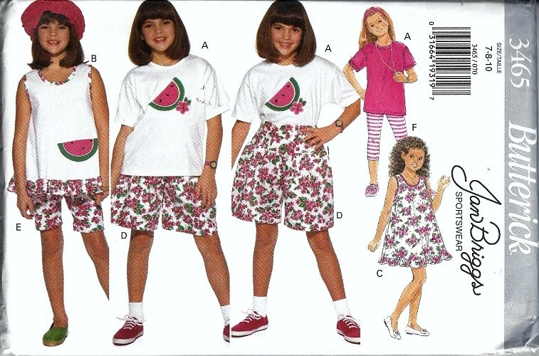 Girls Dress Top Shorts Leggings Sewing Pattern 7, 8, 10 Butterick 3465